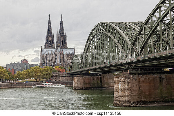Cologne Cathedral and river Rhine - csp11135156
