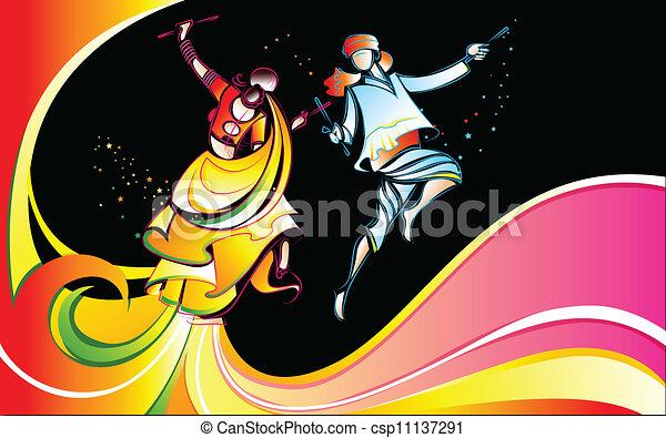 Dandiya - stock illustration  royalty free illustrations  stock clip    Dandiya Dance Clipart