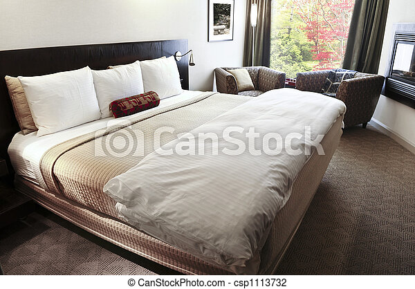 Bedroom with comfortable bed - csp1113732