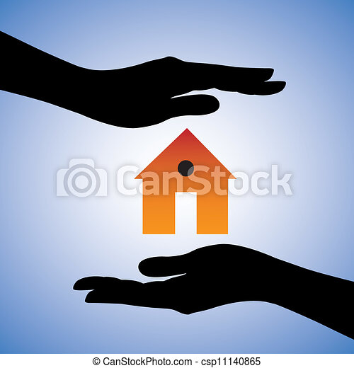 Concept illustration of protection of house/home. This can represent concept of home insurance or installing security system for safety etc. The graphic contains two female hands and a house symbol. - csp11140865