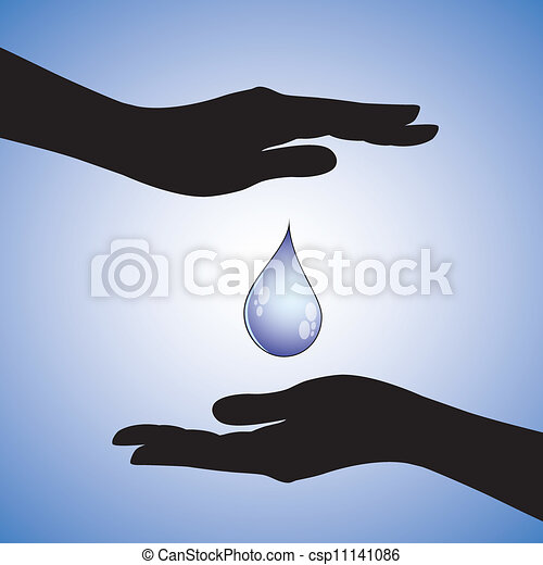 Concept illustration of conservation of water from wastage, disease and pollution. This can represent safety of drinking water from getting contaminated or pollution of rivers, glaciers & lakes, etc. - csp11141086