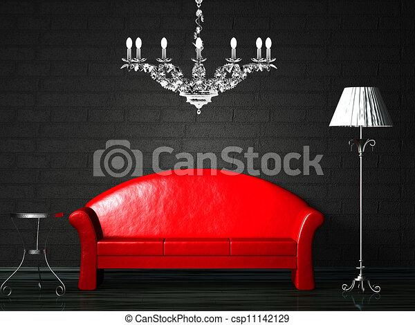 Illustration rouges divan table norme lampe banque for Divan 2 lampe