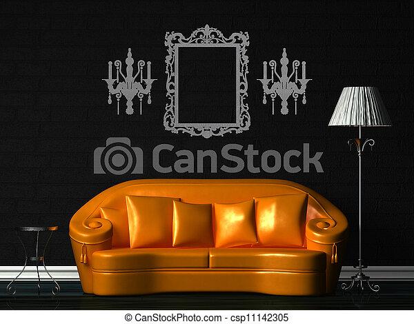 Photo orange divan table norme lampe noir for Divan 2 lampe