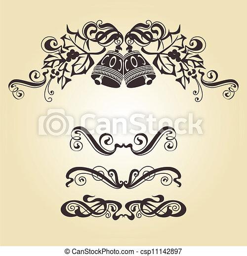 Eps vectores de navidad campanas calligraphic for Ornamentacion para navidad