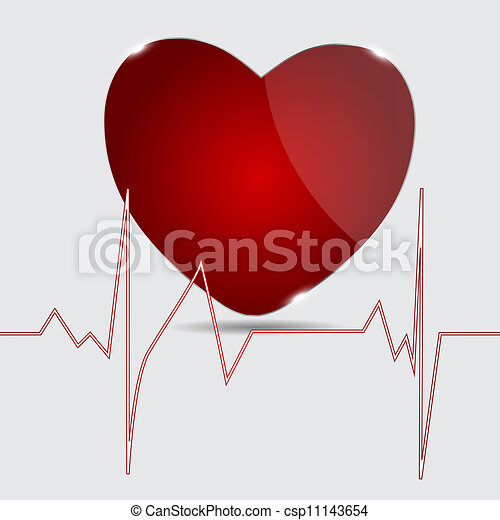Cardiogram with heart. Vector illustration. - csp11143654