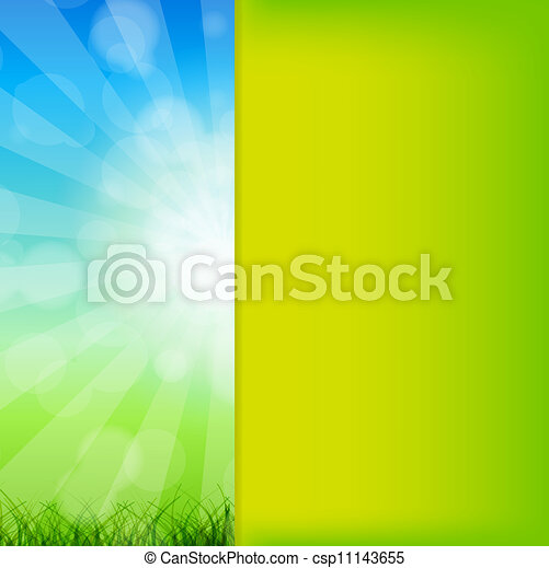 Summer Abstract Background with grass and chamomile against sunny sky. Vector illustration. - csp11143655