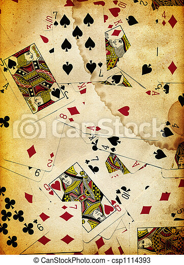 Dirty Playing Cards Background Texture Design - csp1114393