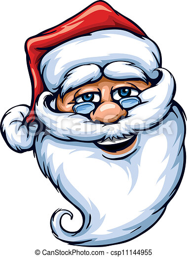 Clipart Vector of smiling Santa Claus face vector illustration ...