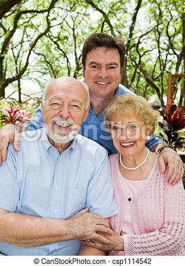 Adult Son & Elderly Parents - csp1114542