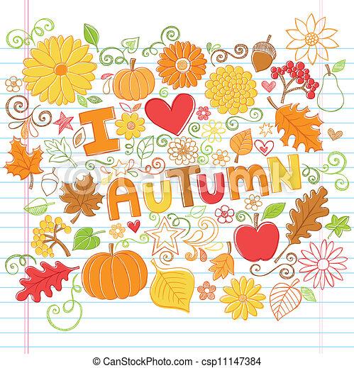 Autumn Fall Sketchy Doodles Vector - csp11147384