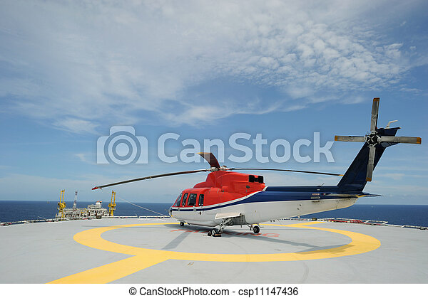 Offshore helicopter parking - csp11147436