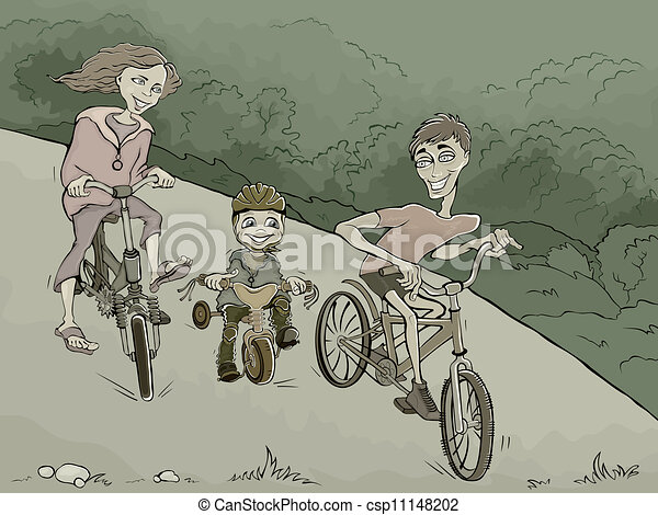 family on the bikes in the forest - csp11148202