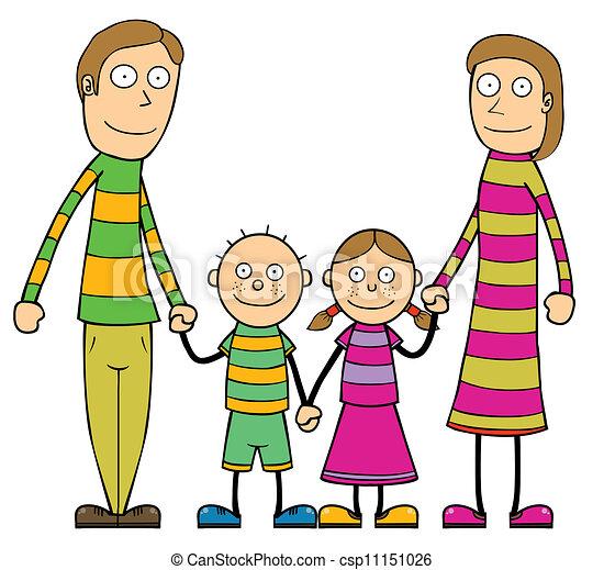 feliz, caricatura, familia - csp11151026