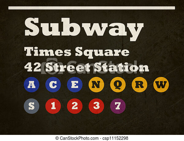Stock Illustration of Grunge Times Square subway sign ...