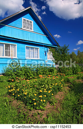 summer flowerses near rural building - csp11152453