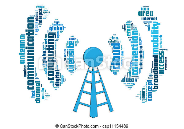 Wireless communication concept made by typography with isolated white background - csp11154489