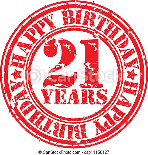 Grunge 21 years happy birthday rubb - csp11156127