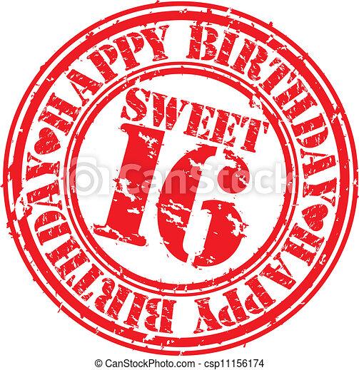 Grunge happy birthday sweet 16 rubb - csp11156174
