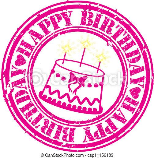 Grunge happy birthday rubber stamp, - csp11156183