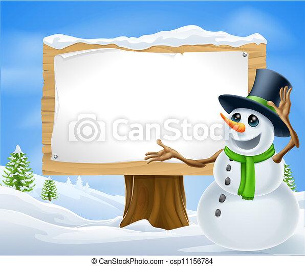 Christmas Snowman Sign - csp11156784