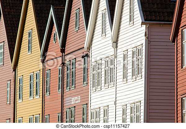 the house front of Bryggen in Bergen, Norway