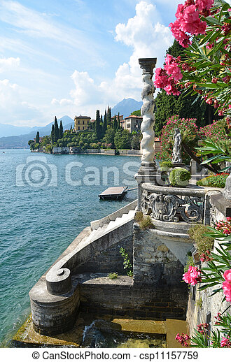 View to the lake Como from villa Monastero. Italy - csp11157759