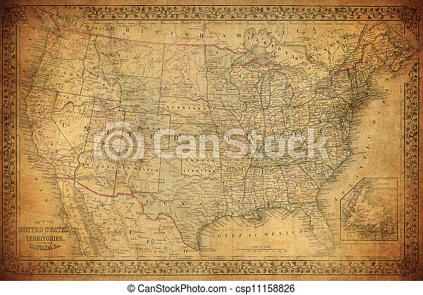 Vintage map of United States 1867 - csp11158826