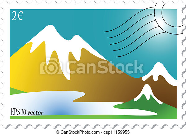 mountain landscape stamp - csp11159955
