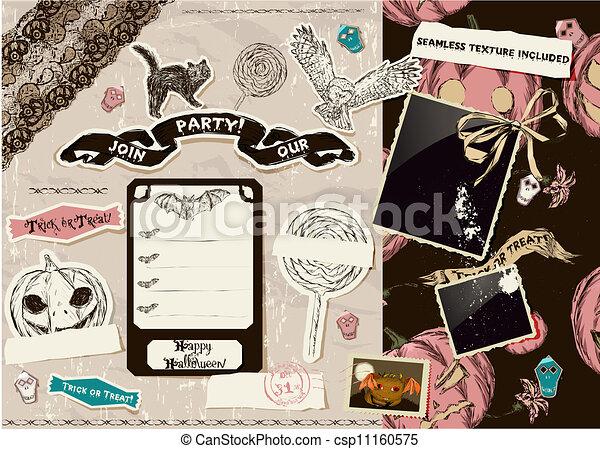 Vintage Halloween scrapbooking set. - csp11160575