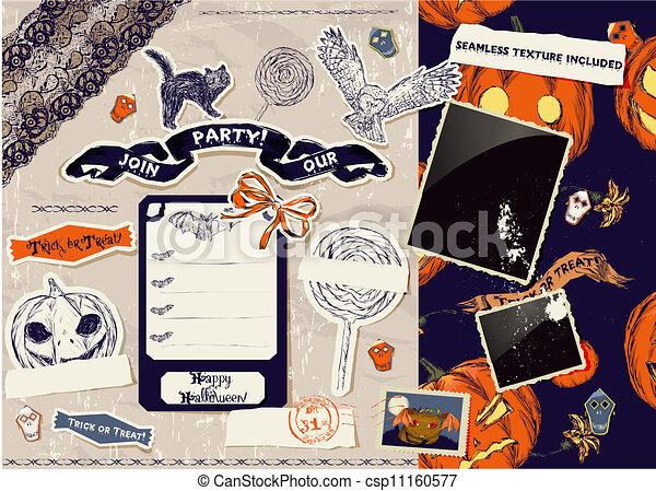 Vintage Halloween scrapbooking set. - csp11160577