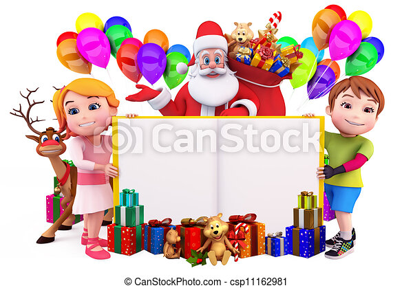santa claus with sign and kids - csp11162981