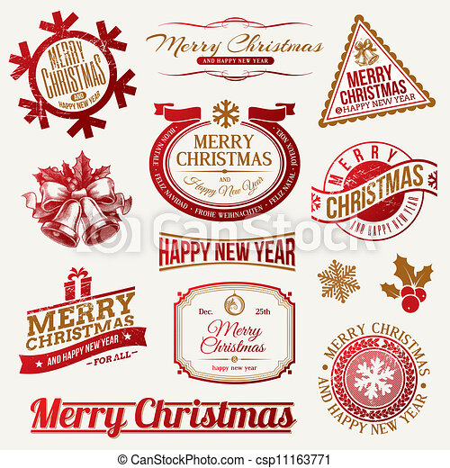 Christmas holidays emblems & labels - csp11163771