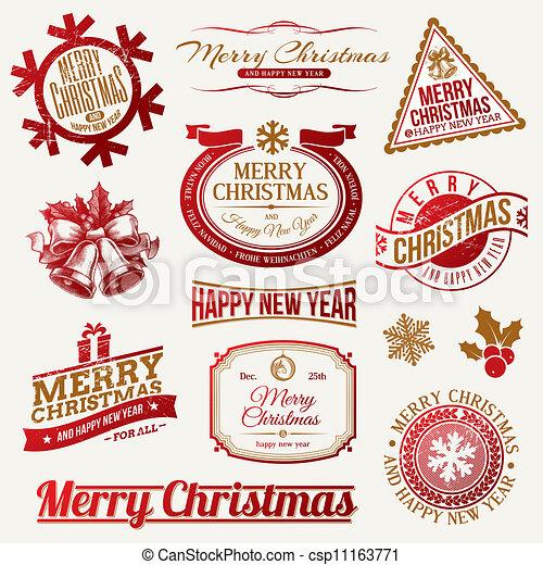 Christmas holidays emblems & labels - csp11163771