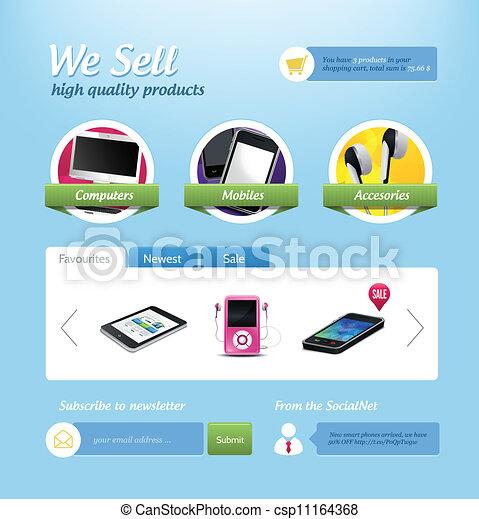 Clip Art Vector of Mini e-commerce website template - Vector mini ...