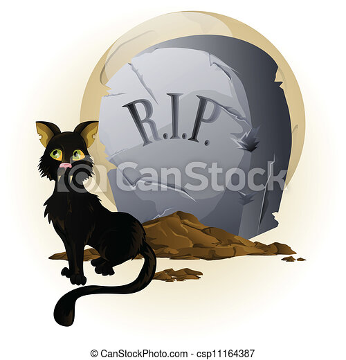 Vecteur de pierre tombale halloween chat halloween - Pierre tombale halloween ...