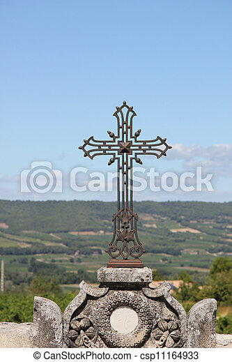 cast iron cross ornament - csp11164933