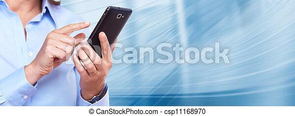 frau,  smartphone, Hände - csp11168970