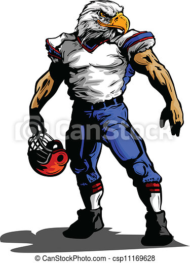 Eagle Football Player in Uniform Vector Illustration - csp11169628 Eagle Football Logo