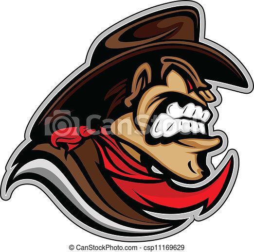 Cowboy or Bandit Mascot Head Vector Illustration - csp11169629