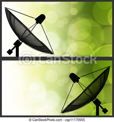 Satellite dish on global background for Communication and technology - csp11170555