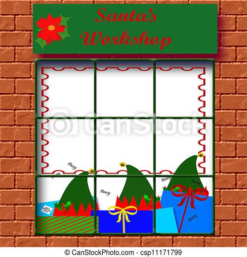Illustration of Santa's workshop - elves at work in Santa's workshop ...