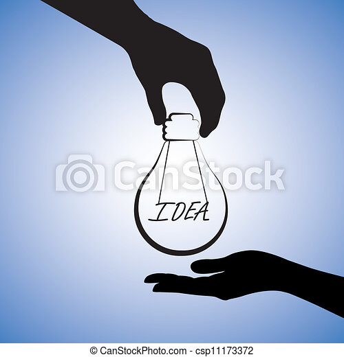 Concept illustration of one person providing idea to the other. The graphic uses a light bulb with filament replaced with word idea to convey the concept of problem solving or finding solution - csp11173372