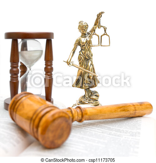 statue of justice, gavel, law book and hourglass - csp11173705