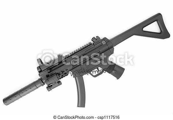 submachine gun with a silencer - csp1117516