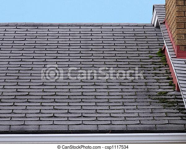 stock foto von undicht dach haus dach mit moos wachsen auf ihm csp1117534 suchen. Black Bedroom Furniture Sets. Home Design Ideas