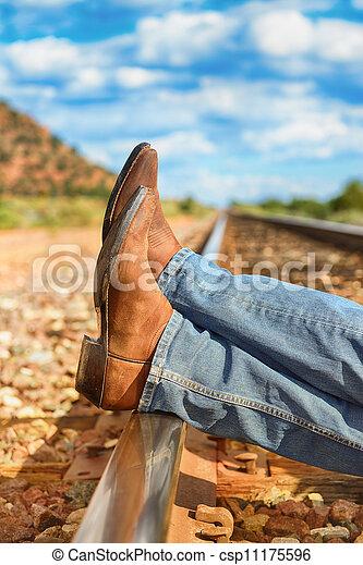 across train tracks - csp11175596
