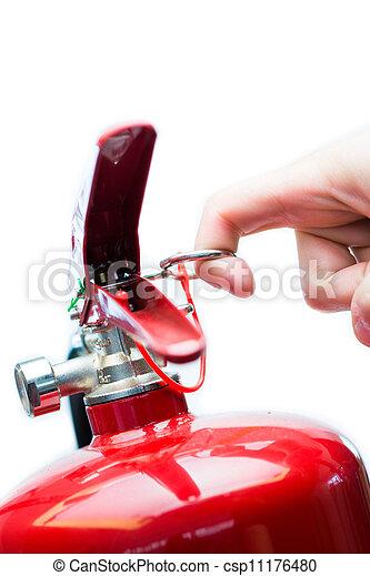 extintor, alfinete, fogo, mão, puxando, segurança - csp11176480