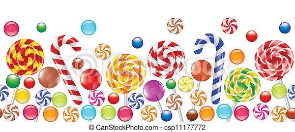 colorful candies, fruit bonbon, lollipop  - csp11177772