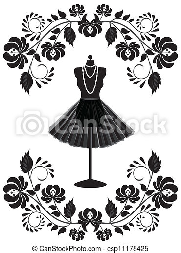 fashion card with mannequin with necklace and skirt in floral frame - csp11178425