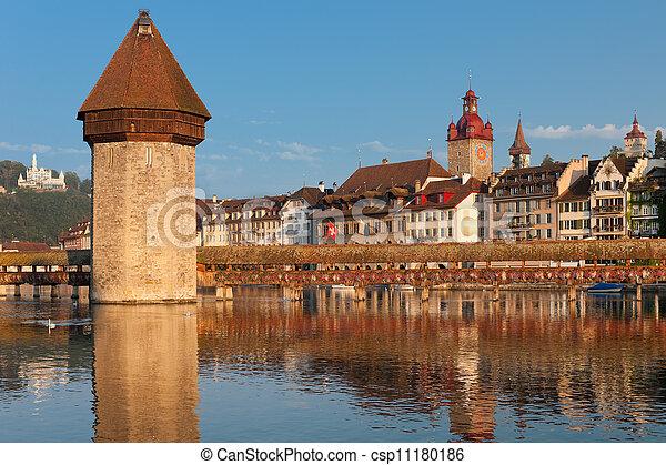 Chapel Bridge and Water Tower in Luzern - csp11180186